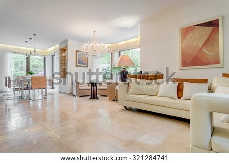 new design living room. Photo of new design living room with neat furniture Cozy Classic Peach Red Beautiful Living Stock 108401306
