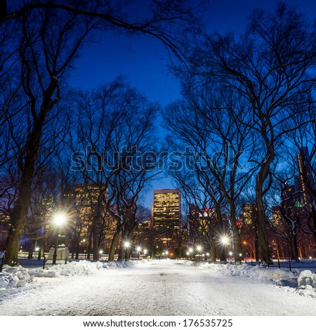 Photo of New York City buildings as viewed from Central Park at night - stock photo