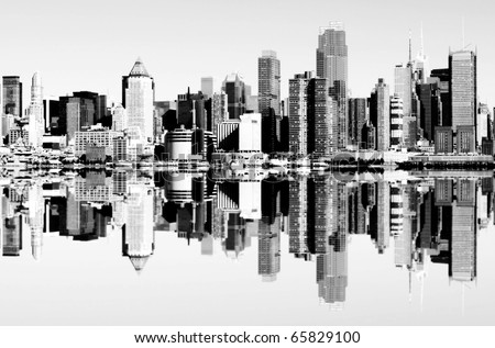 photo of new york city skyline over the hudson river - stock photo