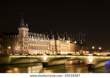 photo of night-view of Bastille Prison in Paris - stock photo