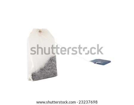 Photo of non-used teabag over white background wiith clipping path