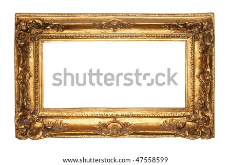 Photo of old antique gold frame over white background. Clipping path included. - stock photo