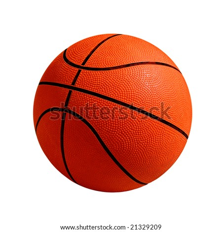 Photo of one basket ball isolated in white background - stock photo