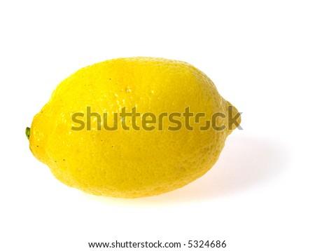 Photo of one lemon on white background - stock photo