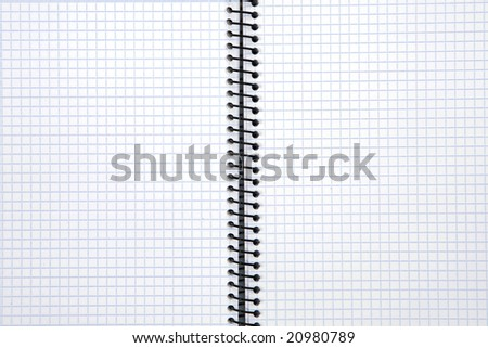 Photo of one notebook in blank with blue squares