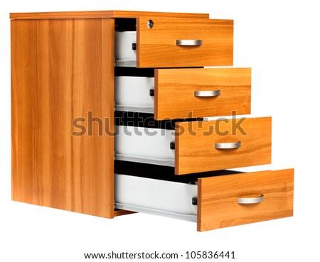 Photo of opened drawers on white background - stock photo