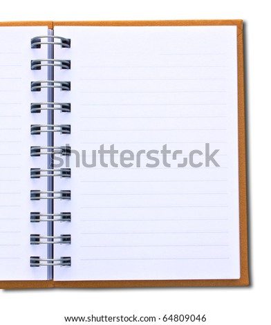 Photo of orange notebook (blank paper).