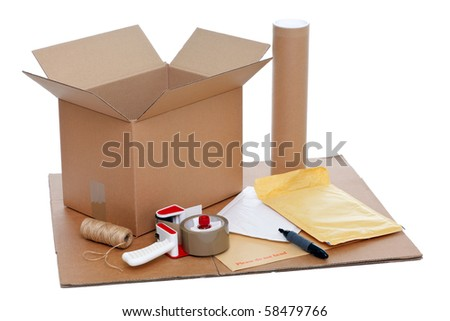 Photo of packaging items isolated on a white background. - stock photo