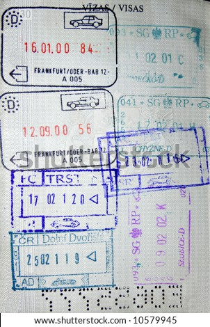 Photo of passport stamps from different countries including Germany, Czech Republic, Poland and Slovakia