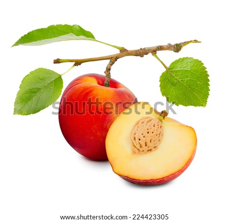 Photo of peach with slice and leaves isolated on white - stock photo