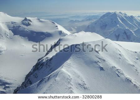 Photo of peaks near Denali in Denali National Park, Alaska - stock photo