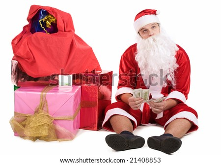 Photo of pensive Santa with dollars in hands thinking about something - stock photo