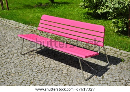 Photo of pink bench.
