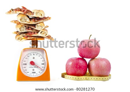 Photo of pizza slices stacked on a scale with apples isolated over white - stock photo