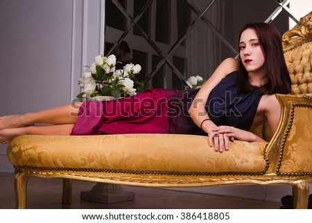 photo of Portrait of stylish sexual young lady with bright makeup