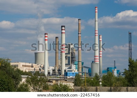 Photo of power plant. Industrial structure landscape
