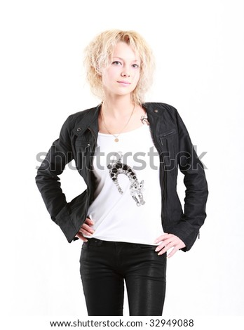 Photo of pretty young girl in black jacket - stock photo