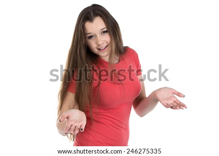 Photo of puzzled teenage girl on white background - stock photo
