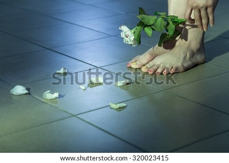 Photo of rape victim with suicidal ideation - stock photo