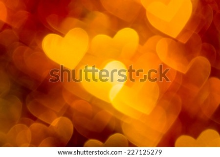 photo of red and golden hearts boke as background - stock photo