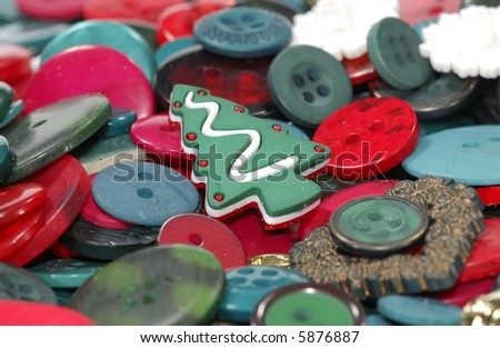 Photo of Red and Green Buttons - Christmas Background