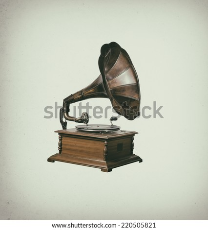 Photo of retro gramophone isolated over vintage stain background - stock photo