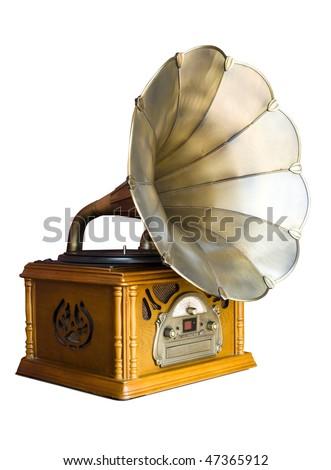 Photo of retro gramophone isolated over white background - stock photo