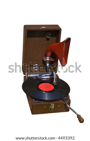 photo of retro gramophone with disc isolated over white background - stock photo