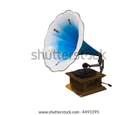 photo of retro gramophone with disc isolated over white background