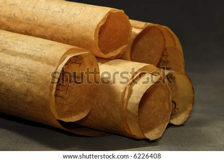 Photo of Rolled Up Parchments / Scrolls - stock photo