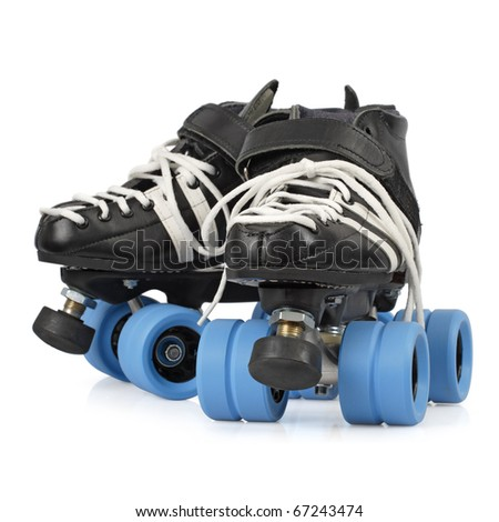 Photo of Roller Derby quad skates. Focus is on the front skate. - stock photo