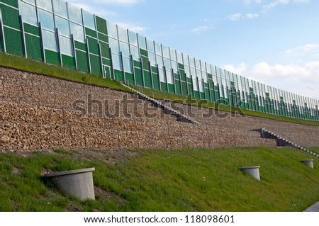 Photo of safety barriers near highway - stock photo