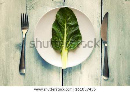 Photo of salad leave on a plate - stock photo