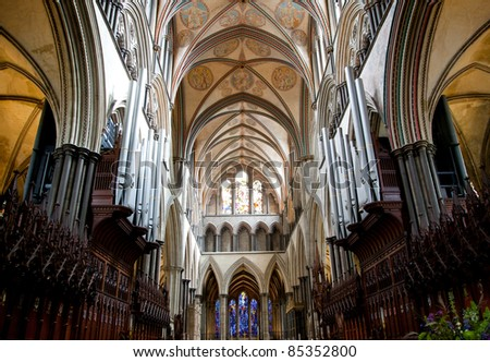 Photo of salisbury cathedral  internal view of ceiling - stock photo