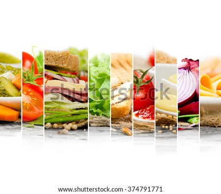Photo of sandwich and ingredients mix slices woth white space for text - stock photo