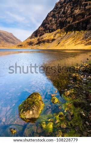 Photo of scottish landscape scene with loch Achtriochtan in Spring, Glencoe, Scotland, UK - stock photo