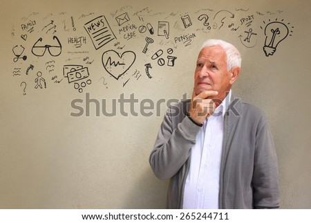 photo of senior man looking concerned about medical and health issues with set of infographics - stock photo