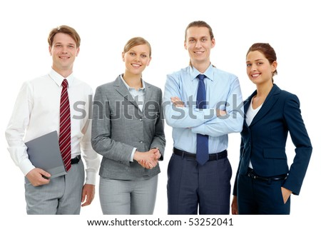 Photo of several successful associates looking at camera