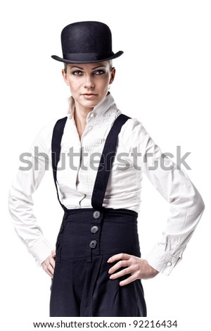 Photo of sexy gangster-girl with hat. Isolated over white