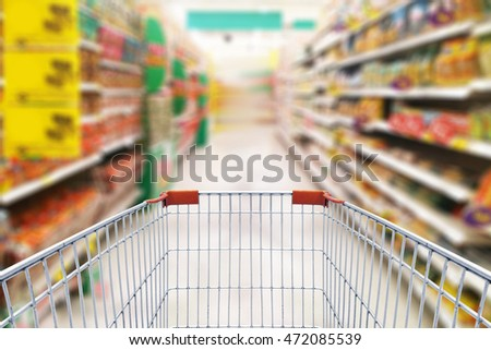photo of shopping cart in supermarket