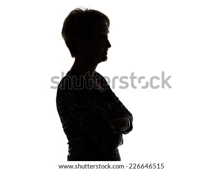 Photo of silhouette adult woman in profile on white background