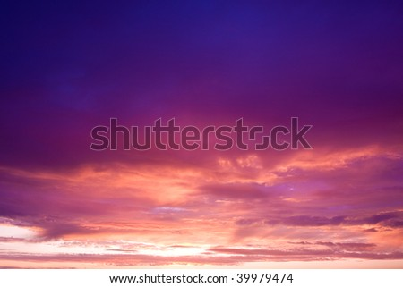 Photo of sky with beautiful pink sunset - stock photo