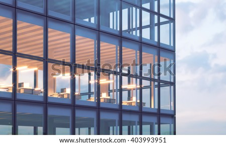 Photo of skyscraper tower.High floor office, interior in evening time. Panoramic windows facade background,contemporary business center. Empty coworking room.Real horizontal mockup,flares.3d rendering - stock photo