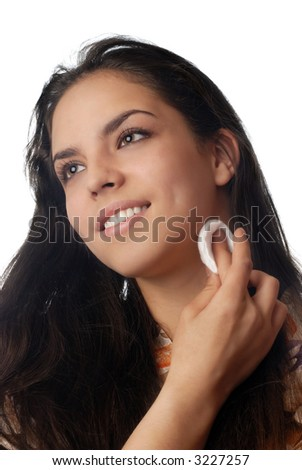 Photo of smiling model with skin treatment pad - stock photo