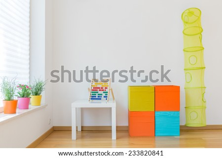 Photo of space for children with colorful toys - stock photo