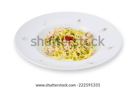 Photo of spaghetti pasta on a plate - stock photo