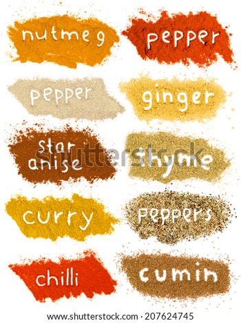 Photo of spice powder heaps with text isolated on white - stock photo