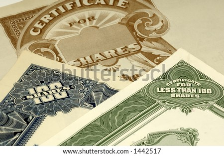 Photo of Stock Certificates - stock photo