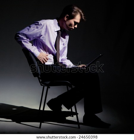 Photo of strange businessman working instead of sleep at night