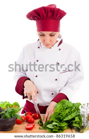 photo of successfull female restaurant chef on white background